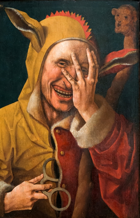A Laughing Fool. Netherlandish oil painting (possibly Jacob Cornelisz. van Oostsanen) ca. 1500. [Public Domain Image.]